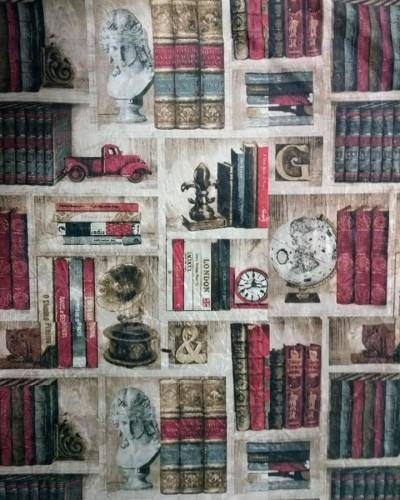 Detalhes do produto Tecido Suede Estampado Livros