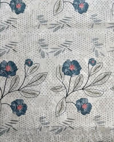 Ver o produto Tecido Suede Estampado Flores Azul