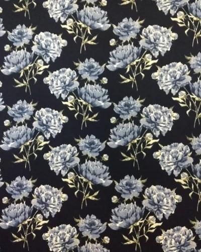 Detalhes do produto Tecido Fiama Flores Azul Marinho